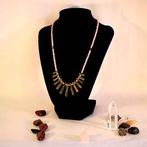 Unakite & Antique Pink Coral Necklace with Gold Filled Clasp