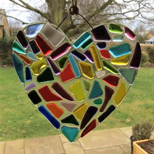 Pretty Multicoloured Fused Glass Heart 12.5 x 13 cm