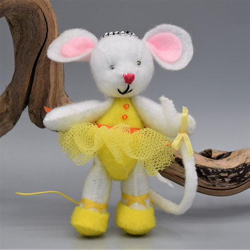 Handmade Small Ballerina Mouse with moveable arms and legs