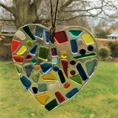 Pretty Multicoloured Fused Glass Heart 9 x 9 cm