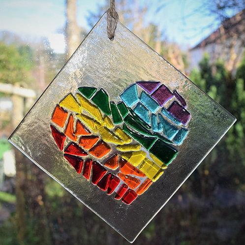 Rainbow Fused Glass Heart 12 x 12 cm