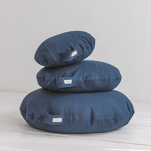 Blue Yoga Pillows for Meditation from 100% Linen