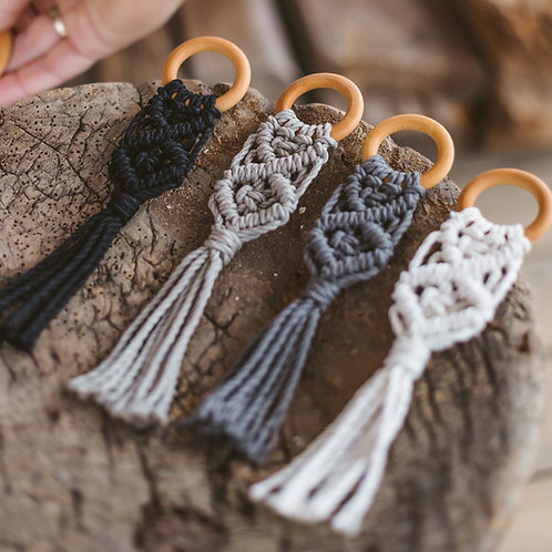 Macrame Natural Wooden Teether with a Ring for Babies