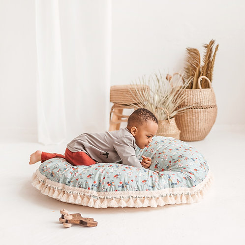 Teepee Floor Pillow - Floral Giant Cushion - Mint Floor Seating for Kids