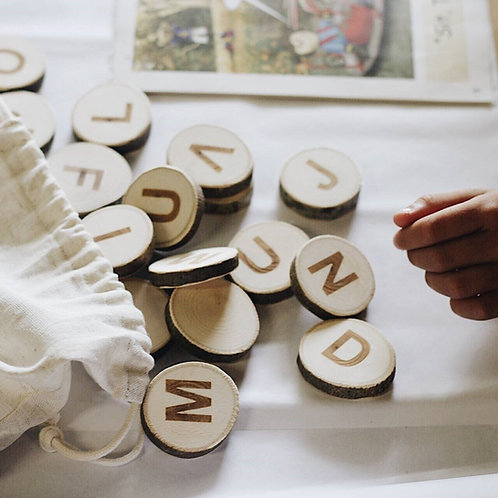 ABC Wooden Slices: 26 Alphabet Letters from Eco-frienly Wood