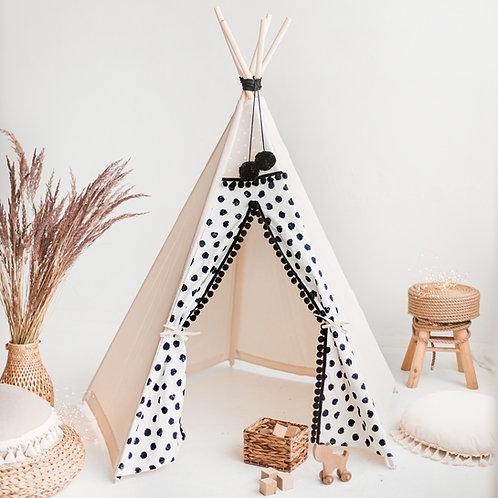 Black Polka Dot Teepee Tent for Kids