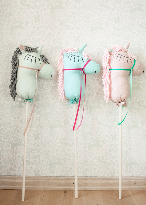 Stick Horse Toy, Unicorn Hobby Horse from Linen