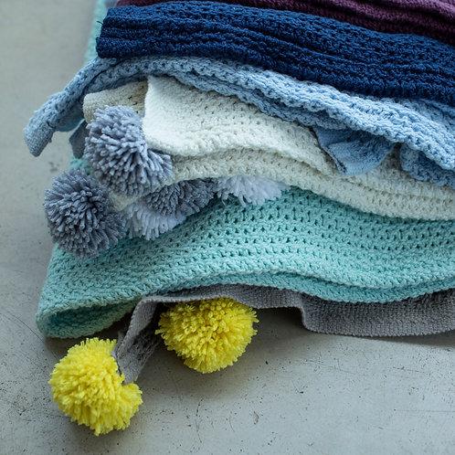 Knitted baby pom pom blanket, newborn blanket