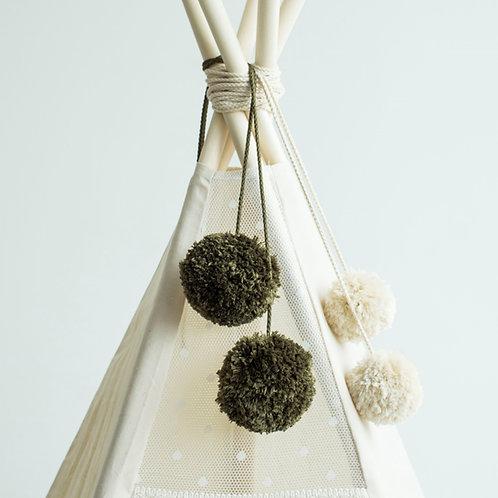 Moss Color Handmade Pom Poms for Teepee Decoration