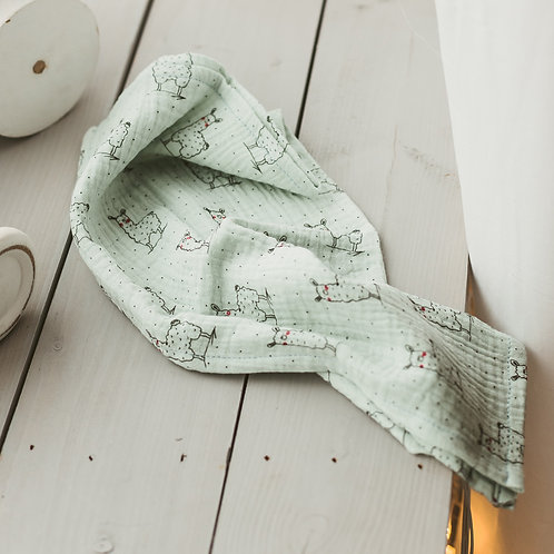 Green Llamas Baby Swaddles and Burp Cloths from Soft Muslin