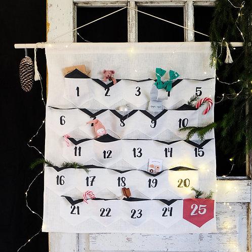 Handmade Geometric Advent Calendar, Linen Advent Calendar, Christmas Calendar