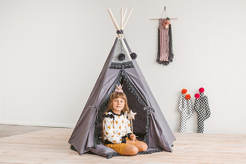 Boho Style Play Teepee: Grey Teepee for Kids with Tassel Decor
