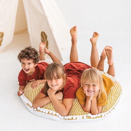 Large Floor Pillow in Mustard Rhombus