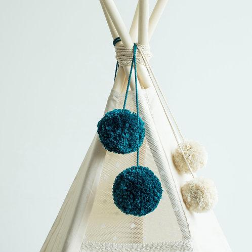 Handmade Teepee Accessories Pom Poms in Dark Mint
