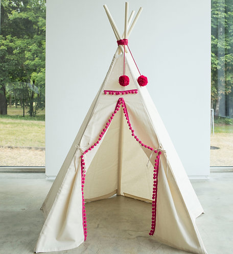 Girls Teepee Tent in Beige & Pink Theme