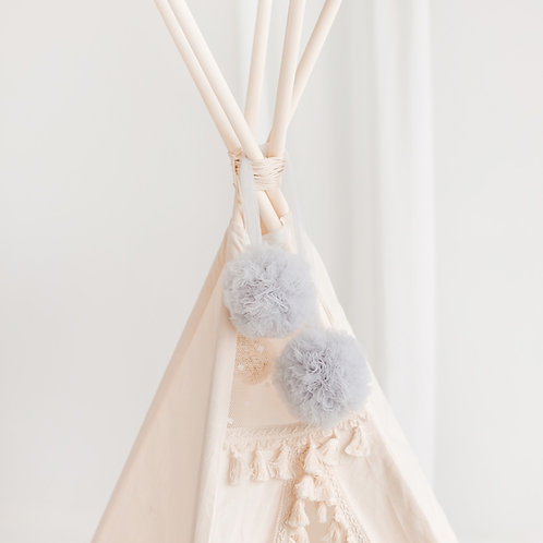 Soft Tulle Pom Poms Balls - Tulle Tipi Toppers- Pastel Nursery Decorations in Dusty Rose & Grey