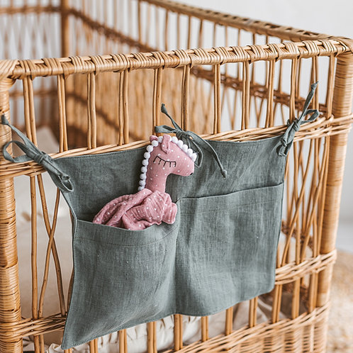 Baby Crib Pocket Organizer - Nursery Hanging Storage of Linen - Baby Registry Gift