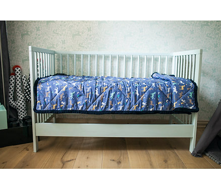 Blue Baby Bed Cover with Forest Animals