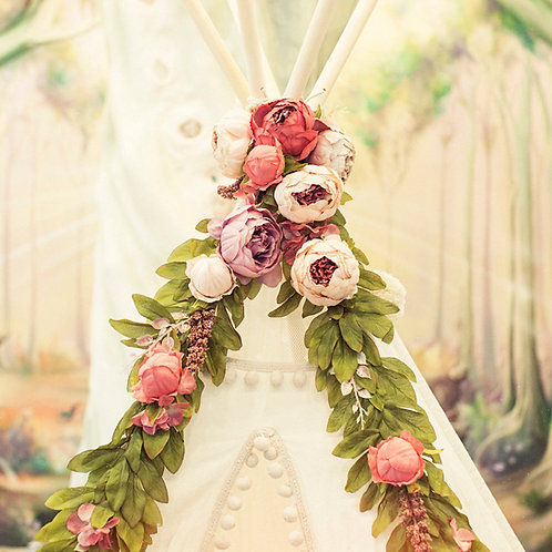 Peonies Floral Garland for Teepee & Nursery Decoration