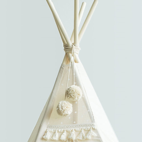 Beige Pom Poms for Teepee Tent