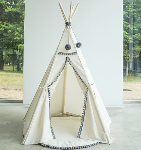 Children Teepee Tent Decorated with Grey Pom Poms