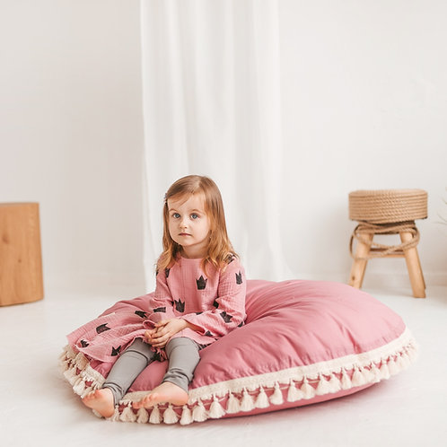 Rose Big Floor Cushion with Tassels Decor by Minicamp