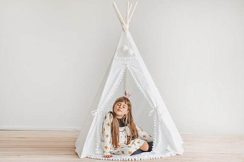 Kids Teepee Tent by Minicamp in White with Extra Poles For Stability - Natural Wood & 100 % Canvas - Express Shipping USA