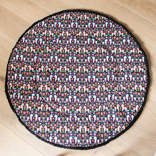 Handmade Nursery Rug with Horse Pattern from 100% Cotton