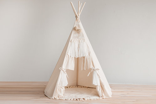 Boho Style Teepee Tent for Kids with Curtains