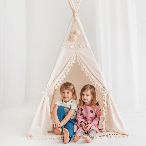 Square Teepee Tent for Kids by Minicamp - Boho Style Kids Play Tent with Tassel Decor & Extra Poles For Stability!