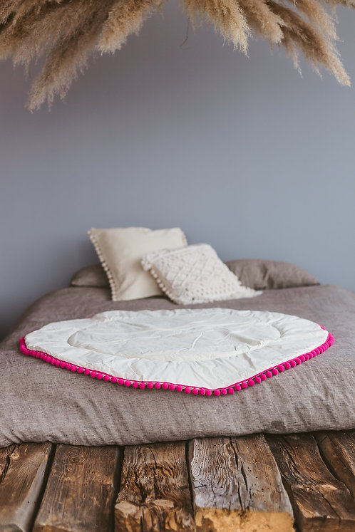 Soft Teepee Play Mat with Pink Pom Pom Border