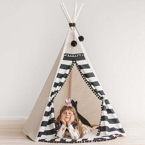 Monochrome Style Kids Teepee Tent in Black & White