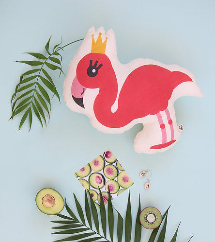 Flamingo baby pillow, baby cushion by Minicamp