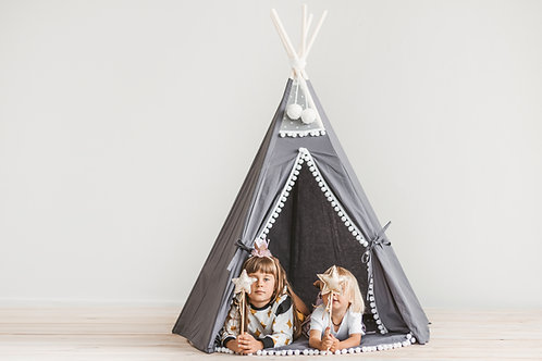 Grey Tipi Tent for Kids with White Pom Pom Decor