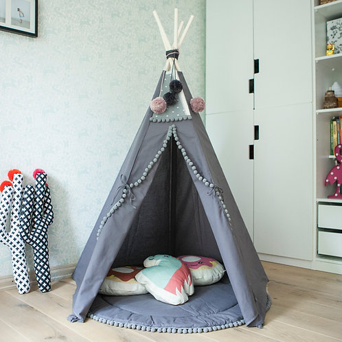 Grey Teepee Tent for Kids in Grey