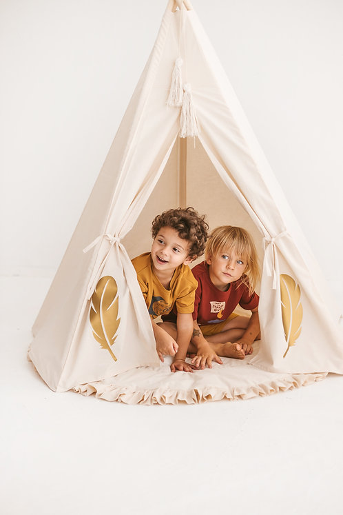 Kids Play Teepee Tent with Golden Feathers by MINICAMP