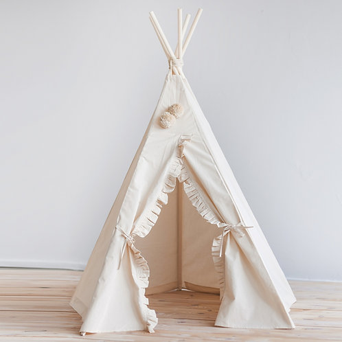 Indoor Teepee Tent for Kids with Ruffled Trim & Extra Poles For Stability!