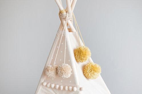 Yellow Yarn Pom Poms