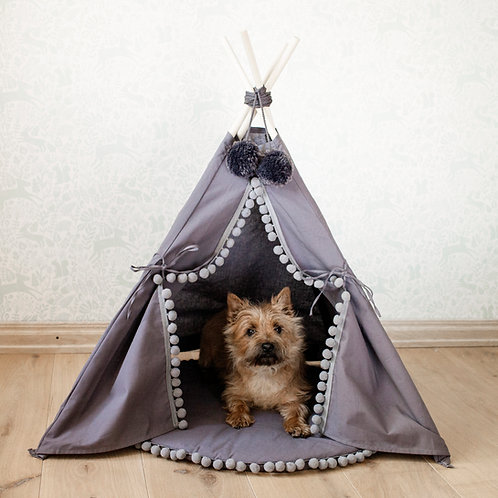Dog Bed, Dog Teepee in Grey