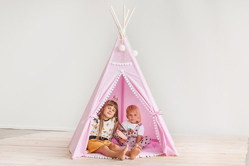 Pink Indoor Teepee Kids Play Tent Girls Teepee with Pom Pom Decor