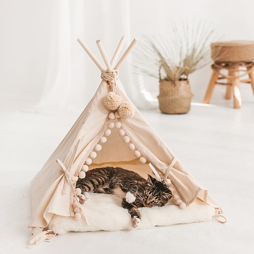 Boho Cat Bed - Pet Teepee Tent with Fake Fur Playmat