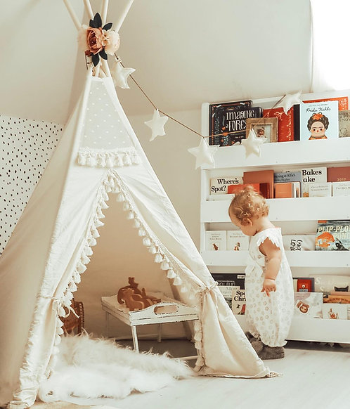 Boho Style Teepee for Kids: Teepee Tent Decorated with Tassels and Pom Poms