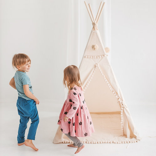 Square Kids Teepee Tent by Minicamp - Kids Play Tent with Pom Pom Decor & Extra Poles For Stability!
