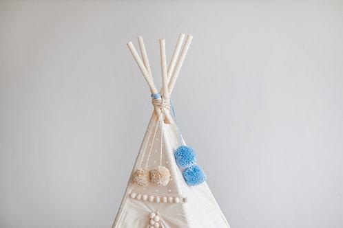 Light Blue Handmade Pom Poms, Teepee Toppers