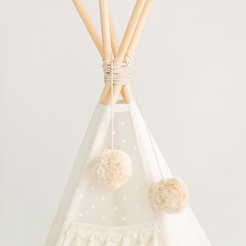Beige Pom Poms for Teepee Tent - Tipi Tent Toppers