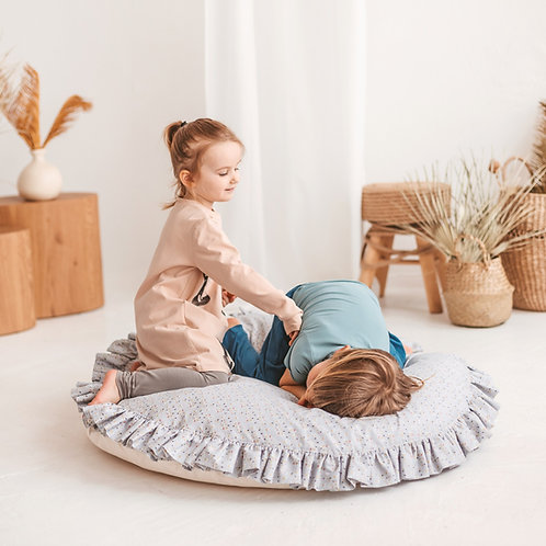 Grey Round Floor Pillow for Kids Reading Space - Giant Cushion with Ruffles