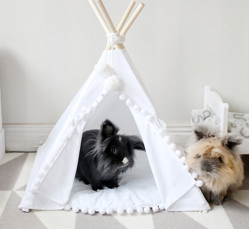 Rabbit Teepee, White or Beige Rabbit Bed, Rabbit House, Bunny Teepee