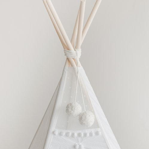 White Pom-Poms Decor for Kids Teepee Tent