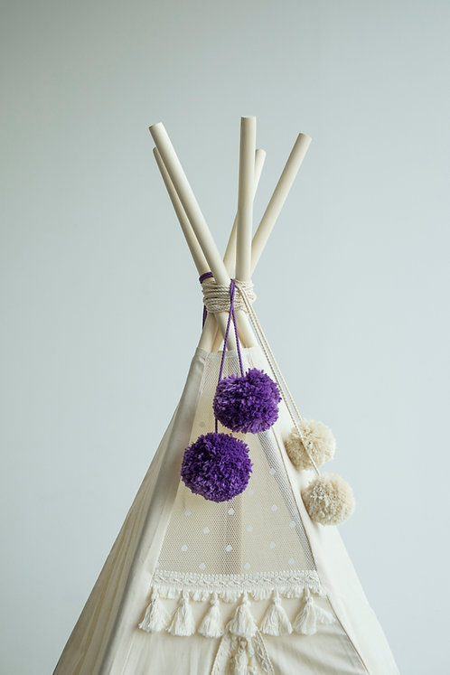 Violet, Purple, Lilac Teepee Pom Poms -TeepeeTent Toppers