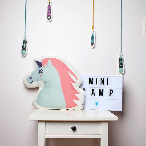 Pillows for kids, unicorn nursery pillow by MINICAMP